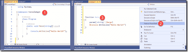 C# to PowerShell code conversion