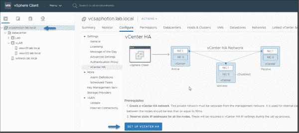 Configure vCenter Server HA