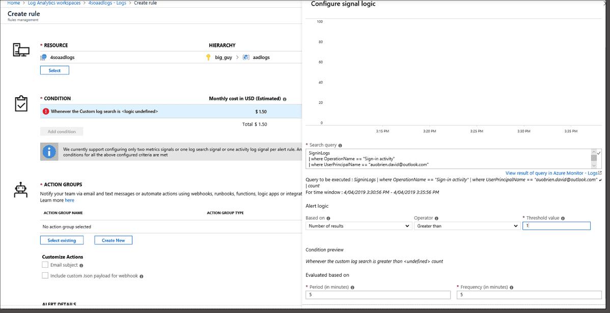 Creating an Azure alert for a user login