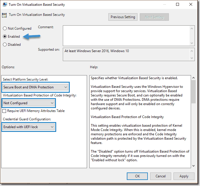 Enable Windows 10 virtualization-based security (vbs) for