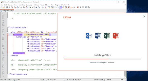 Installation of Office 2019 is limited to the four core applications