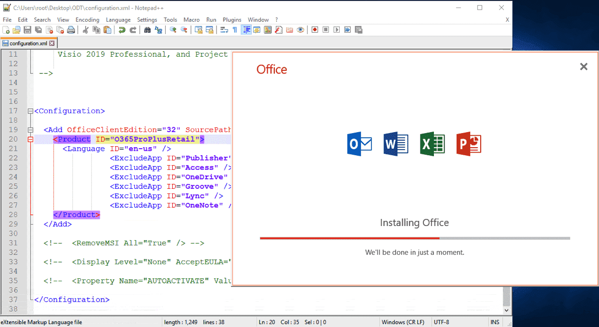 Install only selected Office applications using the Office Deployment Tool