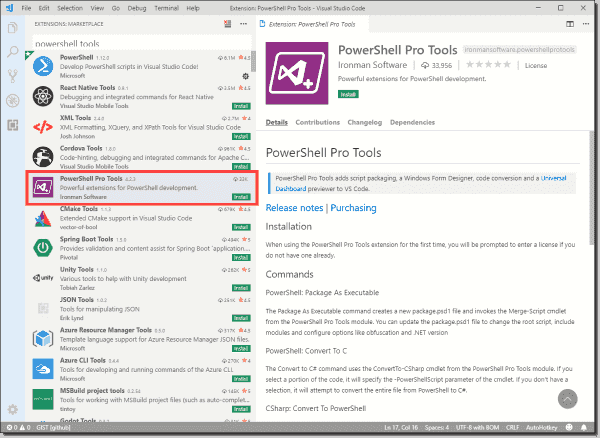 Installing PowerShell Pro Tools in Visual Studio Code