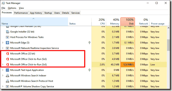 Microsoft Office Click to Run setup in Task Manager
