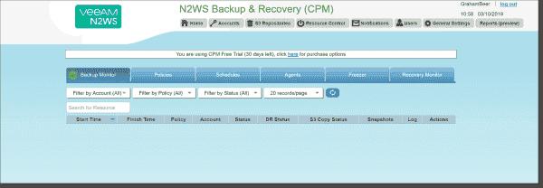 N2WS opening menu screen