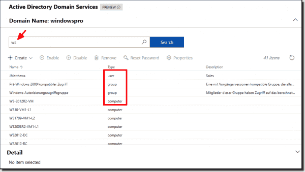 Objects in Active Directory can only be accessed via the search function