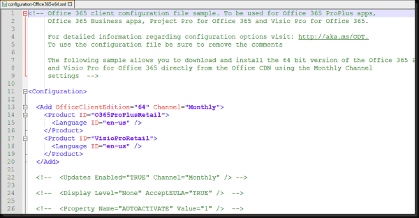 One example configuration delivered with the Office Deployment Tool