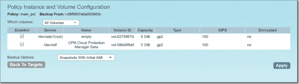 Policy instance and volume configuration