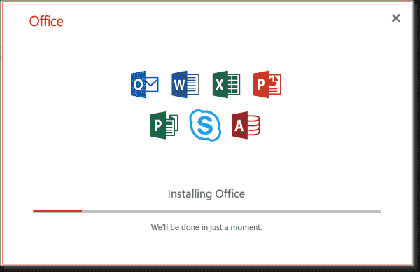The Click to Run setup will install all Office applications without giving the user a choice