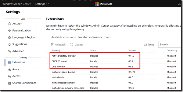 The modules for AD, DNS, and DHCP must be installed via the list of extensions