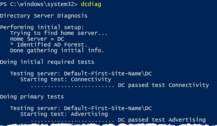 Use DcDiag with PowerShell to check domain controller health
