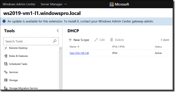 WAC displaying a notification about an update for an extension