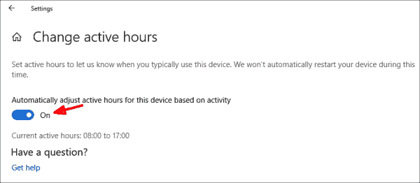 Windows 10 1903 can adjust the active hours based on the user's habits