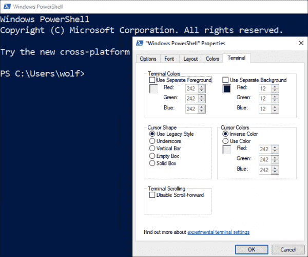 Additional settings for terminals in Windows 10 1903