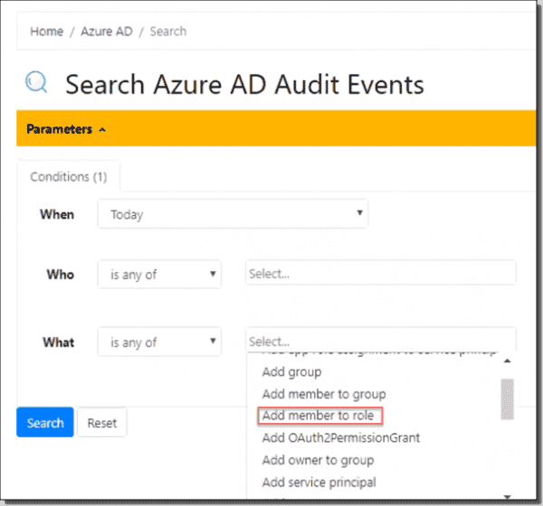 "Azure AD ""Add member to Role"" search example"