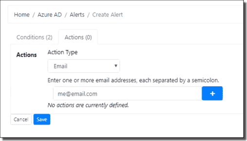 Azure AD alert action – User added