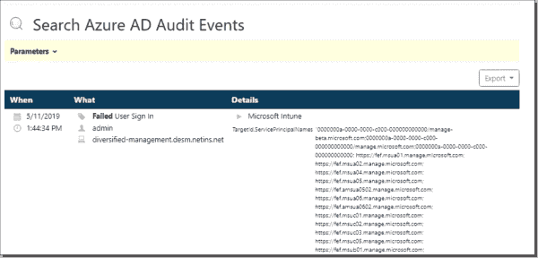 Azure AD failed login report results