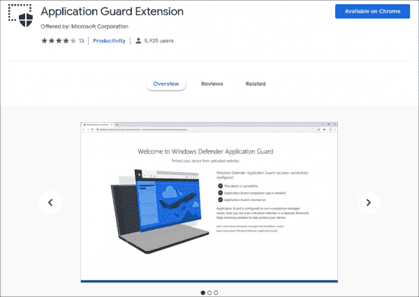 Chrome extension for Windows Defender Application Guard