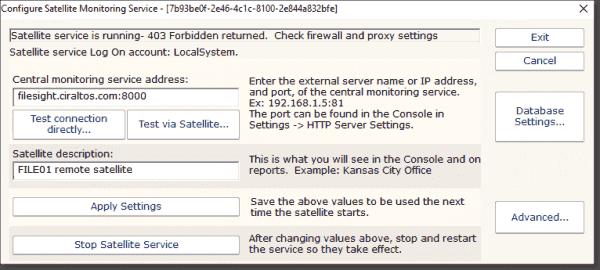 Configure the Satellite Monitoring Service