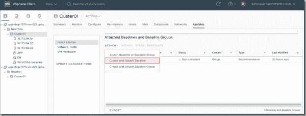 Create and attach baselines in vSphere Update Manager
