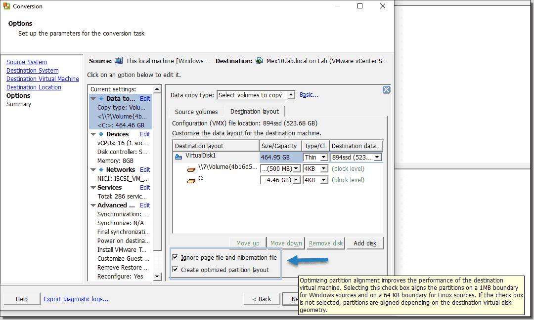 Create optimized partition layout