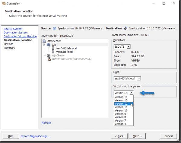 Downgrade virtual machine version