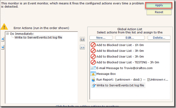 Example 1: Configure error action