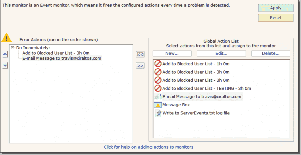 Example 3: Virus lockout actions