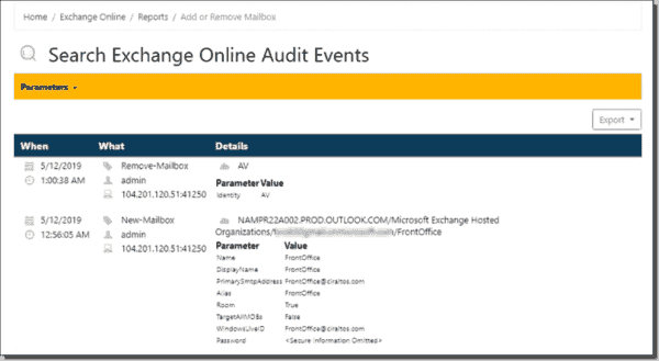 Exchange module add remove mailbox report