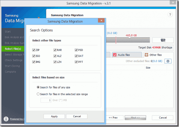 If the target drive is not big enough, you'll have to exclude some files from cloning