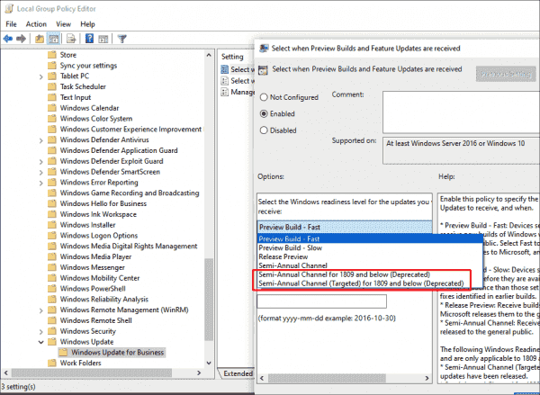 It is no longer possible to postpone feature updates by selecting SAC in Group Policy
