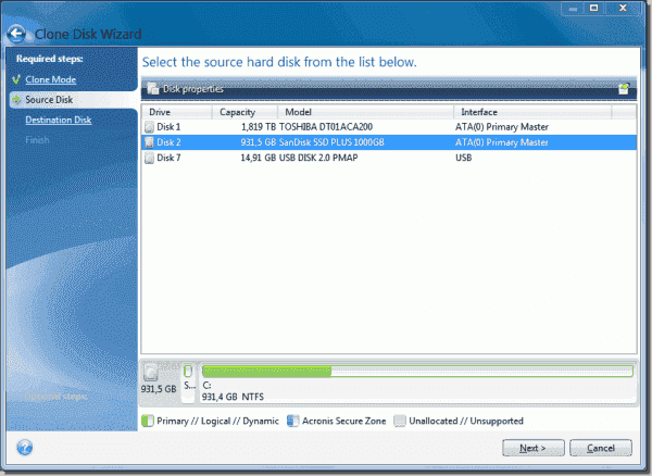 Selecting the source hard disk for the cloning process