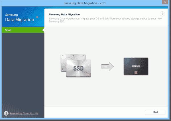 Start screen of Samsung Data Migration