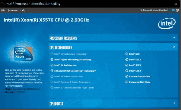The Intel Processor Identification Utility