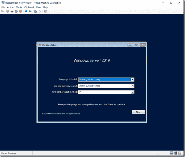 The installation screen for Server 2019