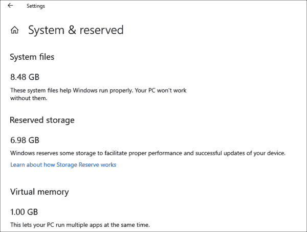 The settings app displays the reserved disk space