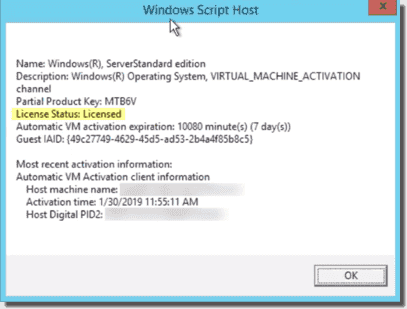 Activate a VM using Automatic Virtual Machine Activation