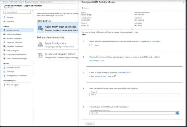 Apple MDM Push certificate request form
