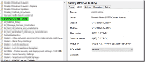 Creating a test GPO