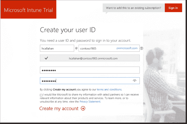 Creating a user ID for Intune