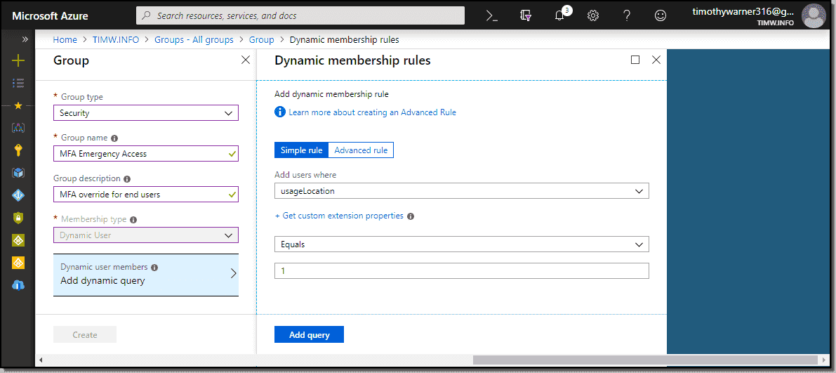 Creating an MFA emergency access group in Azure AD