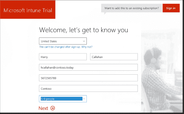 First registration page for Microsoft Intune