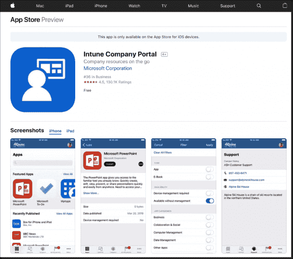 Installation of the Intune company portal from the App Store