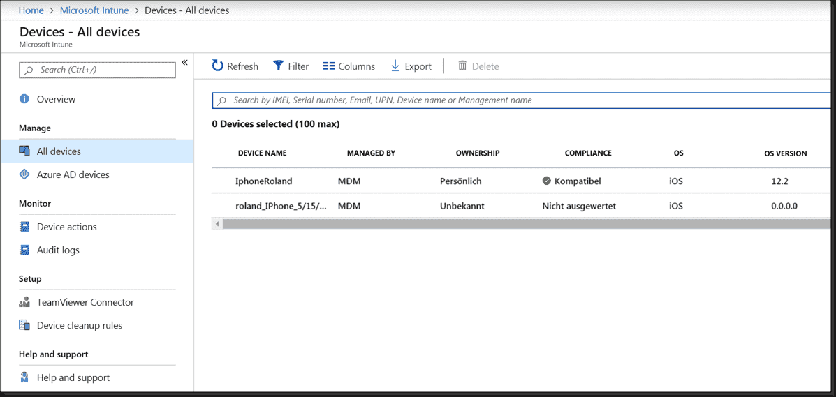 List of managed iOS devices in Intune