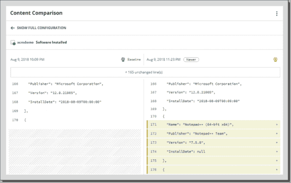 SCM configuration comparison allows for a quick view of all changes