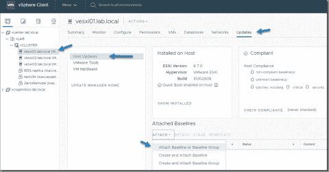 Easiest way to upgrade an ESXi host with vSphere Update Manager 6.7 U2