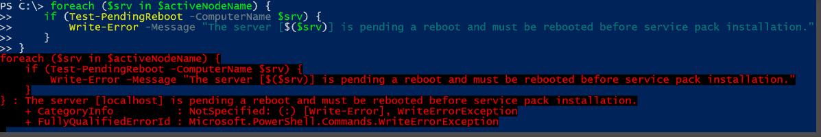 Server pending a reboot