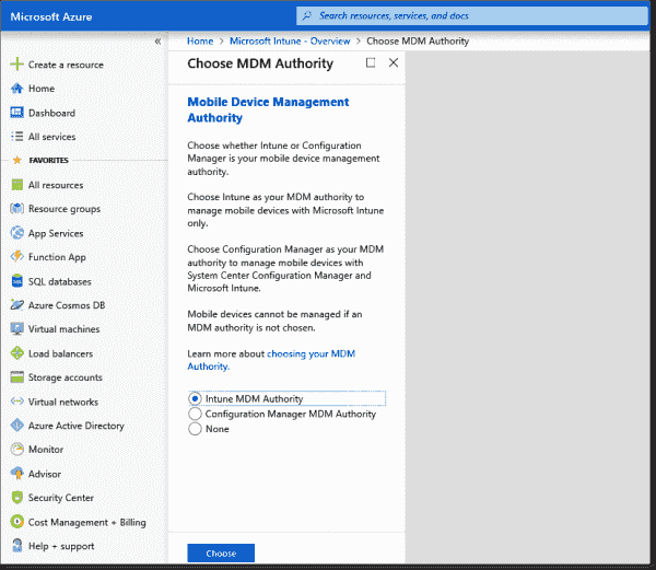 Setting the MDM authority in the Intune console
