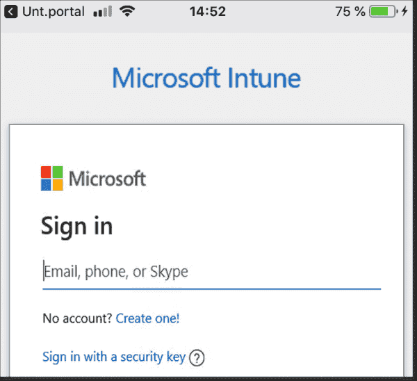 Signing in at the Intune company portal