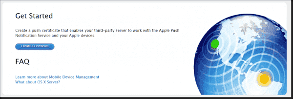 Start page for requesting a certificate from Apple